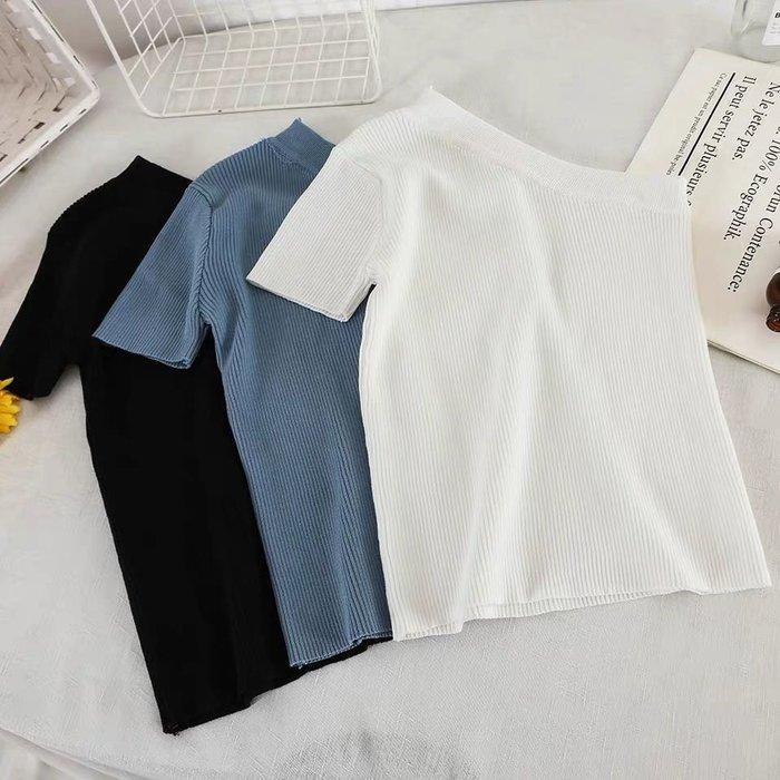 韓版不對稱性感露肩上衣短版T恤