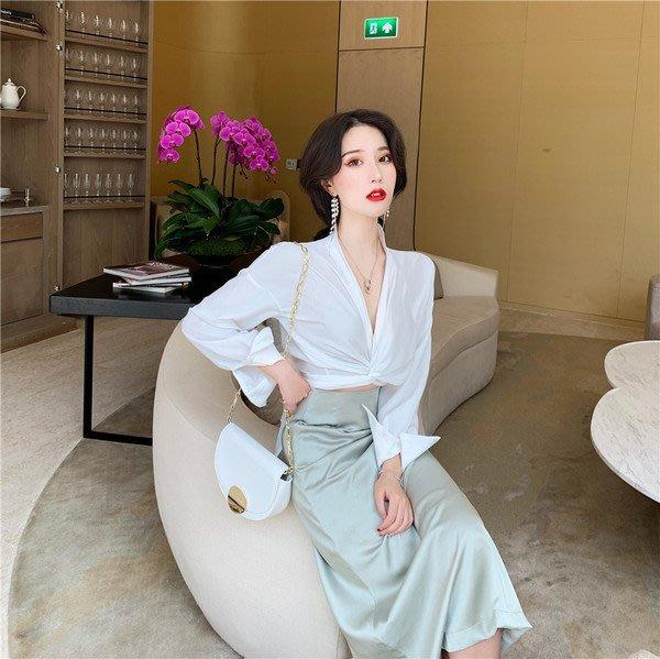 2019夏季新款打結設計感雪紡上衣襯衫女韓版V領性感短款長袖襯衣