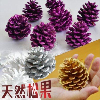 天然松果掛飾  10顆裝 金 銀 紫3...