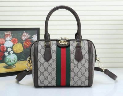 全新 Gucci 499668 雙G 紅綠織帶枕頭包/小包