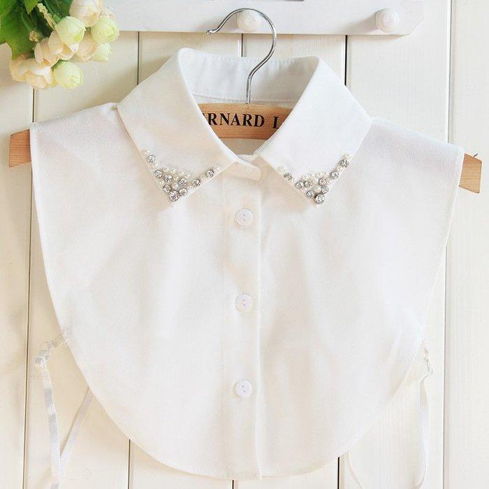假領子襯衫領片-鑲鑽珍珠雪紡白色女裝配件73vk8[獨家進口][巴黎精品]