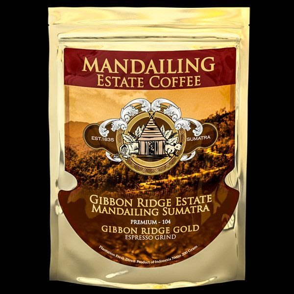 (單品咖啡)典藏黃金曼特寧義式濃縮研磨咖啡Espresso Grind ~Gibbon Ridge Premium  Gold Blend -200g