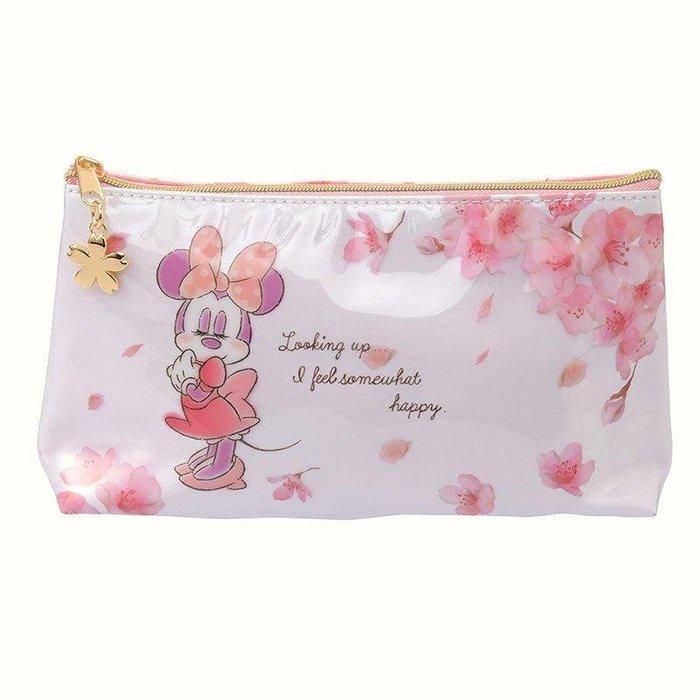 日本迪士尼 櫻花色限定-米妮防水拉鍊化妝包 防水收納包