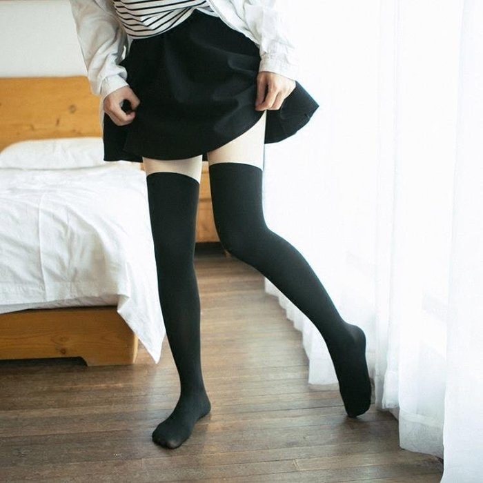 假大腿連褲襪春秋中厚日系過膝假高筒拼接假長筒襪顯瘦絲襪美腿襪