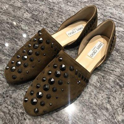 JIMMY CHOO橄欖綠鉚釘樂福鞋/平底鞋(38號)~~全新己貼底(無鞋盒,附他牌防塵袋)