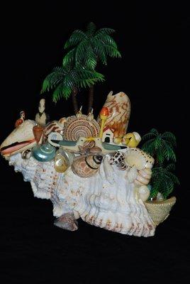 甜 蜜 小 島 手 工 創 作 貝 殼 黏 貼 藝 術 擺 件