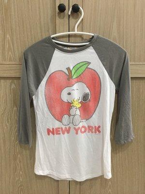 【FULL HOUSE 】人氣品牌MIGHTY FINE 灰色 SNOOPY 蘋果 七分袖 棒球 Q Tee S特賣