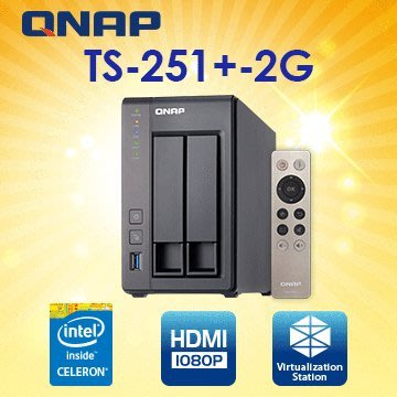 QNAP 威聯通 TS-251+-2G 2Bay 網路儲存伺服器(附遙控器) NT$11450含稅免運