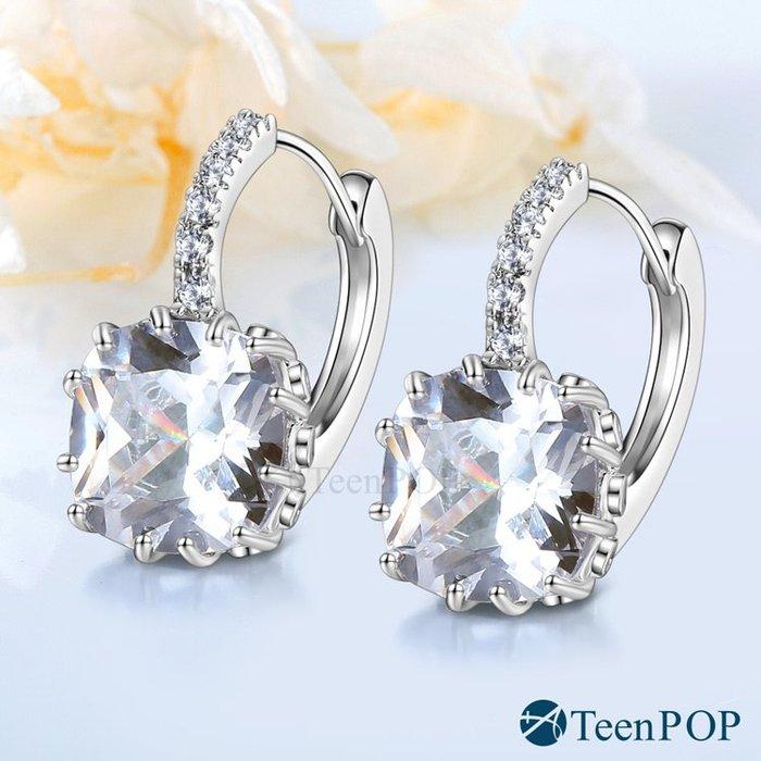 耳環 ATeenPOP 白K 圈式耳環 璀鑽光采 多款任選 易扣 AG7012