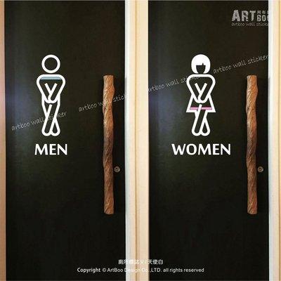 阿布屋壁貼》廁所標誌V-L‧ TOILET 男女洗手間 營業場所標示防水貼紙