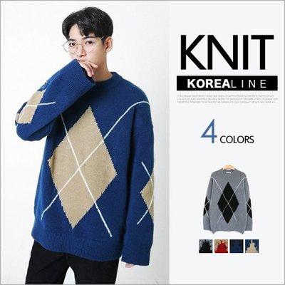 ZINIF 搖滾星球╳韓空線 菱形圖案針織衫 / 4色 正韓代購 720150