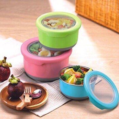 熱銷 不鏽鋼圓形保鮮盒 密封碗 泡麵碗 保鮮盒  便當盒  防滑 環保 防滑 耐磨 三色碗【CF-02A-11900】