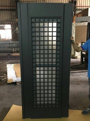 [巨光]鋼製三合一通風門比鋁製防盜更好-單玄關門 防盜門/附白鐵紗網/霧面強化玻璃/水平鎖/暗鎖/白鐵門檻厚板金1.5M