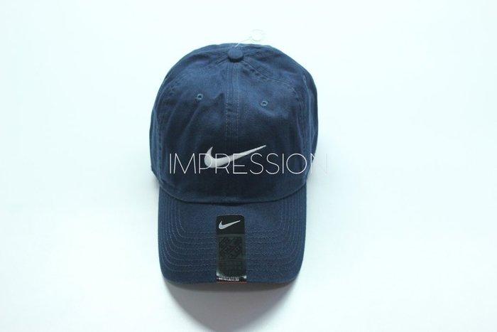 IMP NIKE NSW SWOOSH CAP 電繡經典Logo 老帽彎帽深藍546126-454  41e070cc6425