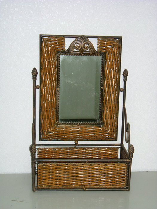 BROTHER鏡台~長型編藤化妝鏡台