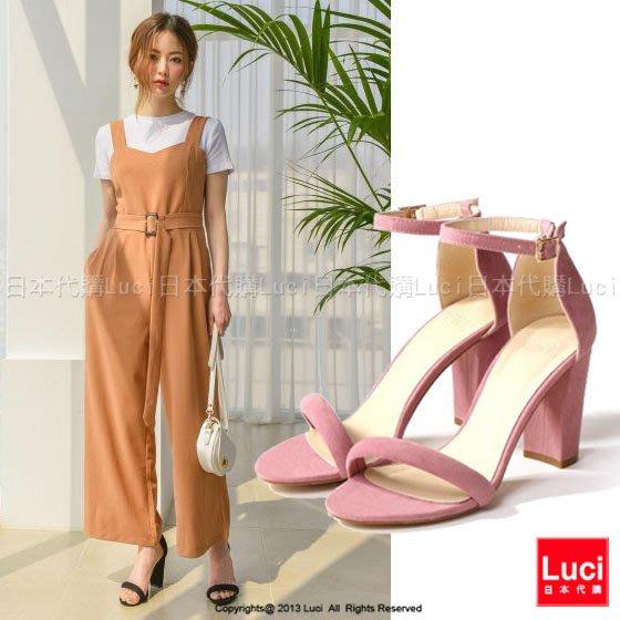 高跟鞋 絨面一字帶高跟涼鞋 復古 性感可愛 修長美腿 日雜款  LUCI日本代購 [gd758aqd]