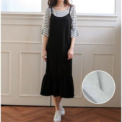 【Hao Da】全館399免運↘「M~XL。現貨」兩件式荷葉袖上衣 細肩帶魚尾連身裙  (P1066)