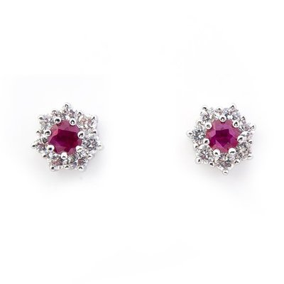 【JHT 金宏總珠寶/GIA鑽石專賣】0.40ct天然紅寶鑽石耳環/材質:18K(JB21-A14)