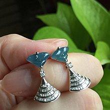 🌸翡麗寶盒🌸翡翠A貨冰藍18K扇形方鑽耳環