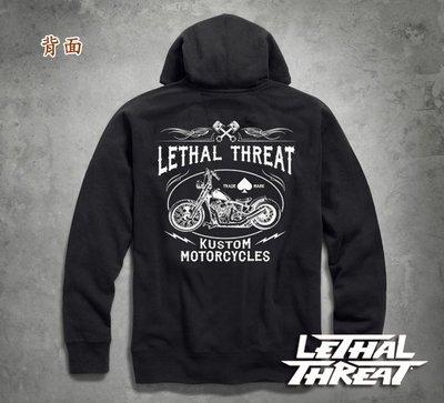 【嘉晟偉士】Lethal Threat 黑色(M) 刺繡黑桃重機 男款長拉鍊帽T 連帽外套 哈雷.凱旋.Vn900