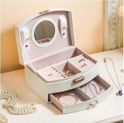 【優上】首飾盒 公主 歐式 韓國雙層手飾品帶鎖首飾收納盒「白色」