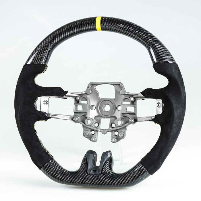 卡夢碳纖維+麂皮+黃環 方向盤 Ford Mustang EcoBoost 5.0GT 用2015-2018年式適用