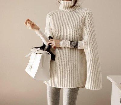 ❤蘑菇家❤長袖針織衫 高領百搭披肩式剪裁純色針織上衣(191211)