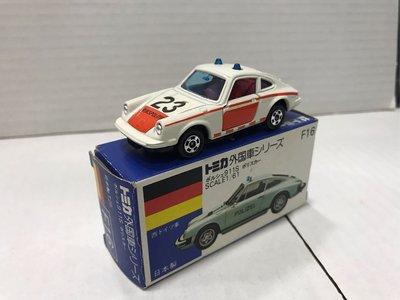 Tomy Tomytec Takara 藍白盒Tomica F16-3 Porsche 911 turbo 警車 1H輪 罕有, 日本製
