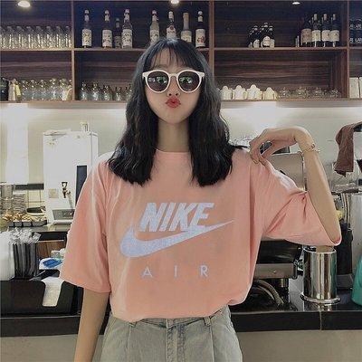2021新款!Nike AIR 反光T恤經典大T 短袖 女款 粉色-LK19885