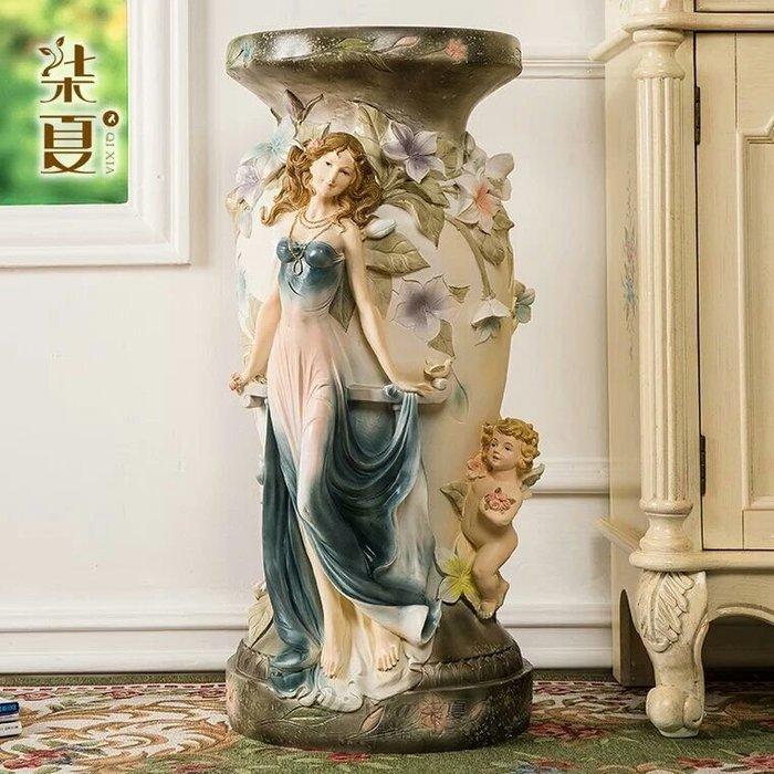 粉紅玫瑰精品屋~歐式高檔羅馬柱花盆樹脂擺件家居裝飾落地天使花架擺設~D款