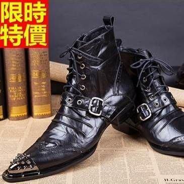 尖頭皮鞋 真皮中筒靴-英倫雕花抓皺鉚釘低跟男鞋子65ai45[獨家進口][米蘭精品]