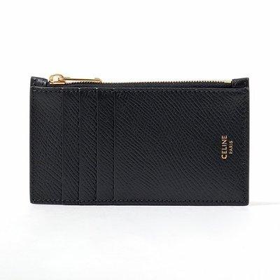 【折扣預購】21春夏正品CELINE ZIPPED COMPACT CARD HOLDER黑色皮革 金色拉鍊 信用卡夾包