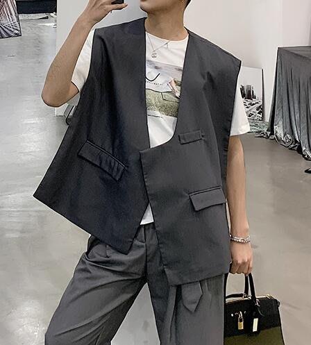 FINDSENSE品牌2019 新春 新款 韓國  無袖 馬甲 不對稱 顯瘦 個性 氣質  時尚 暗黑 潮流上衣 外套