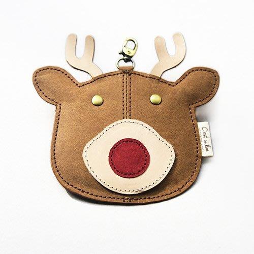 C'est Si Bon|【現貨。免運】洗舊皮革紙鑰匙圈零錢包/卡包-動物狂想曲(暖心麋鹿) 禮品 盒裝