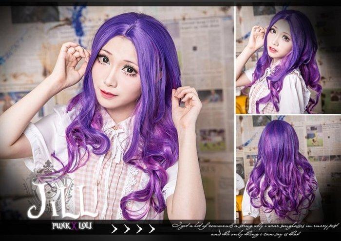 Oo吉兒oO高溫絲原宿日系古著 仿真中分波浪捲假髮~成熟氣質氛圍 熱帶紫 日常款cosplay cos spank