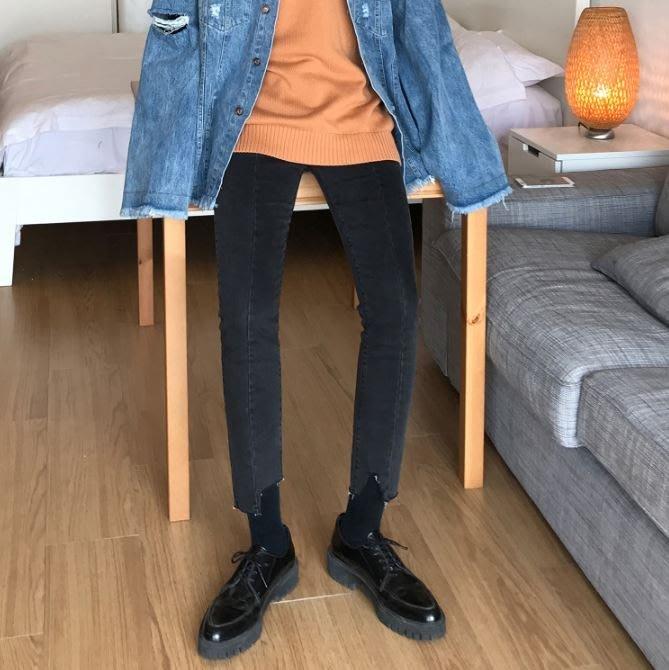 【NoComment】韓系時尚 質感簡約 九分灰黑不規則剪裁素面牛仔褲 Levis ZARA