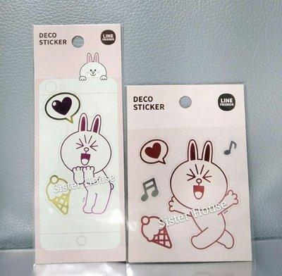 LINE Friends Cony Deco Sticker 兔兔透明貼紙2張