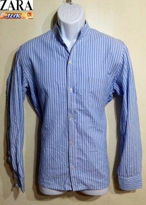 【J&K嚴選】ZARA 男款 條紋襯衫  修身 長袖 紳士品格款-顏色-藍白 尺寸-L號【特價】阿帕契