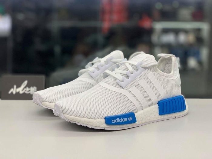 ☆小B之都☆現貨 Adidas NMD R1 GS White Blue AQ1785