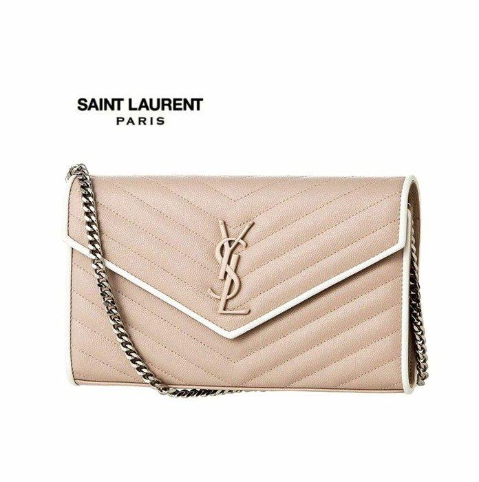 Saint Laurent Paris YSL ( 裸粉紅色×白色 ) 立體金屬LOGO  防刮 真皮小肩背包 長夾 皮夾 錢包 手拿包|100%全新正品|特價