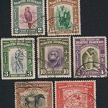 [亞瑟小舖]英屬北婆羅洲人物風景實寄票7枚,稀有上品!!!(1939年)
