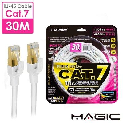☆YoYo 3C☆MAGIC Cat.7 SFTP圓線 26AWG光纖超高速網路線(專利折不斷接頭)30M