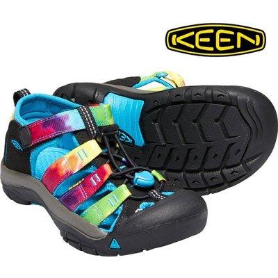 =CodE= KEEN NEWPORT SANDALS 編織彈性綁繩護趾包頭涼鞋(黑迷彩)1018441 拖鞋 大童 女