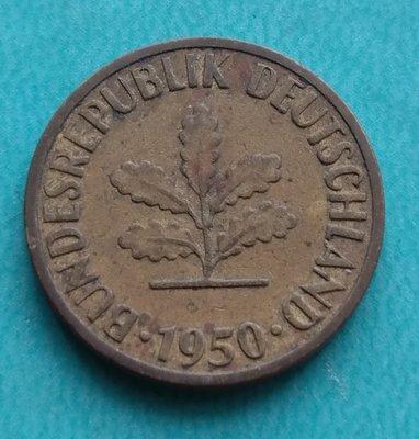 德國   1950年 5芬尼 J記 銅幣 280-056