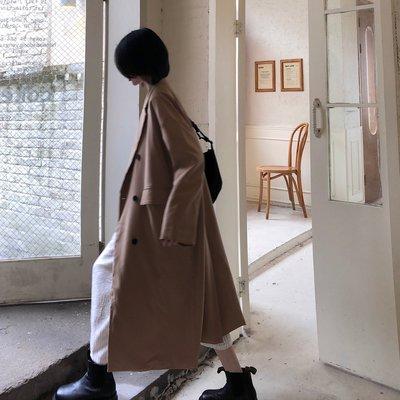 秋冬韓版2020新款感垂感寬松長款大衣西裝領長袖風衣外套女裝
