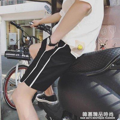 夏季薄款休閒短褲男士韓版潮流情侶褲運動五分褲寬鬆沙灘褲熱褲頭