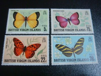【大三元】F18各國蝴蝶專題系列-歐洲郵票-處女島-新票四全1套
