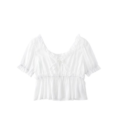 Kate@JIN自制20夏復古法式方領泡泡袖荷葉邊收腰襯衫百搭顯瘦高腰上衣