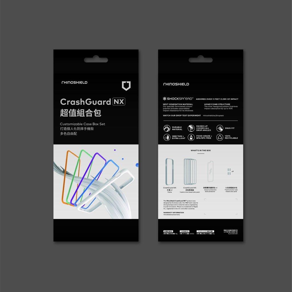 CrashGuard NX 組合包 (主框+4色飾條+耐衝擊背貼+9色按鈕) - iPhone XS