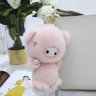 ting掛件 飾品【天使般的小豬】韓國ins可愛水貂毛小豬皮草掛件包包鑰匙扣車掛ting
